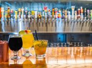 Cocktails on a bar at City Works restaurant.