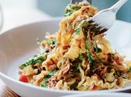 Dishes like Mafaldini Alla Funghi were inspired by Akunowicz's time in Italy, where she worked as a pasta maker.