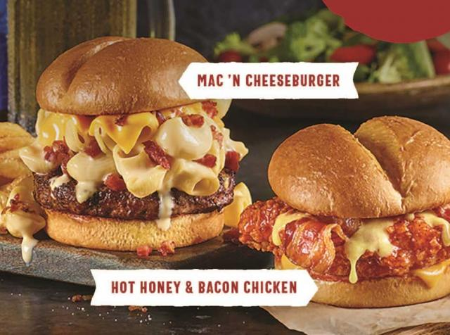 Ruby Tuesday's Mac 'n Cheeseburger and Hot Honey & Bacon Chicken Sandwich