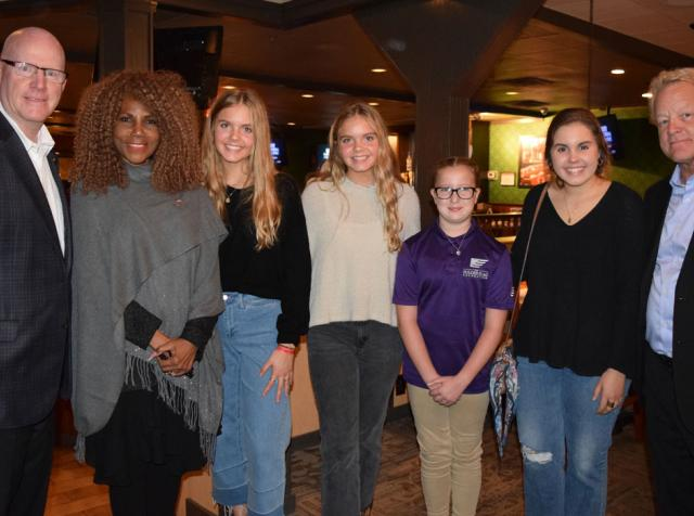 Pictured left to right: Craig Barber (ABRH, LLC CEO); Brenda Haywood (Nashville Deputy Mayor of Community Engagement); Aspen & Annalise Ravella, Addison Rape & Bella Ravella (Folded Flag Scholarship Recipients); and Tom Rankin (Folded Flag Operations Manager).