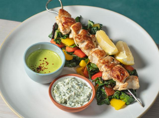Chicken Kebab on a white plate.