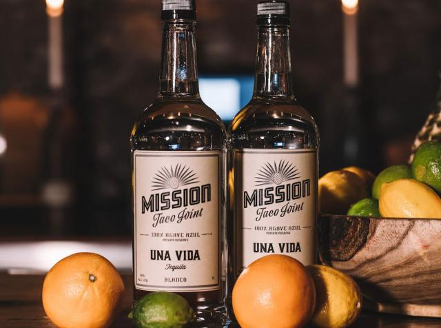 The Mission Taco Joint Una Vida blanco tequila.