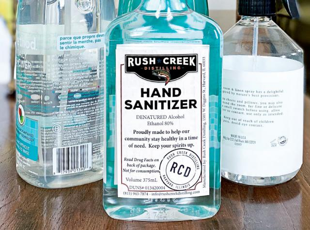 Rush Creek is among the distilleries repurposing their equipment to make hand sanitizer.