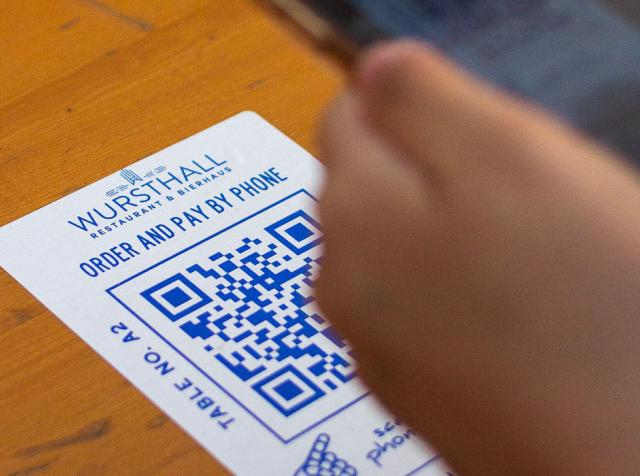 QR code on a table.