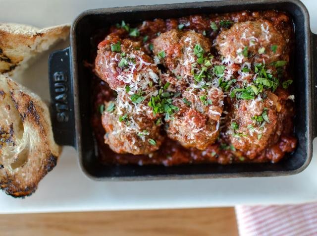 Meatballs being served at North Italia restaurant.