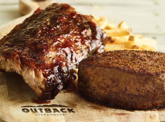 Steak and ribs at Outback Steakhouse restaurant.