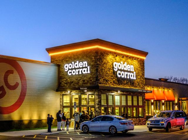 The exterior of a Golden Corral restaurant.