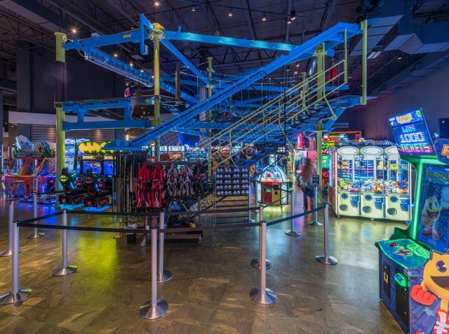 Main Event's colorful fun-filled interior is show, with bowling, arcade games, and more.