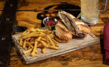 Twin Peaks' Smoked Pork Cubano sandwich.