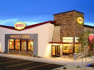 The exterior of a Denny's restaurant.