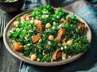 Butternut Kale Salad: Roasted butternut squash, fresh kale, chickpeas and feta tossed with honey citrus vinaigrette, and topped with pumpkin and sunflower seeds.