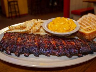 A platter of ribs at Woody's Bar-B-Q restaurant.