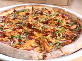 California Pizza Kitchen's famed barbecue chicken pizza.