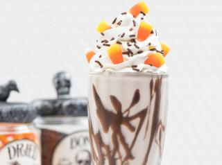 The BOO!-zy Shake features bourbon and dark rum blended with creamy vanilla bean ice cream and rich dark chocolate sauce.