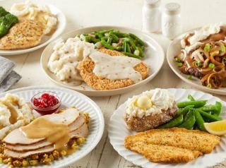 A platter of food options at Bob Evans restaurant.