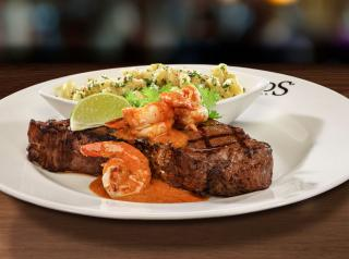 Wood Grilled NY Strip with Chile-Lime Shrimp.