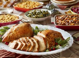Thanksgiving dinner spread from Cracker Barrel