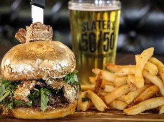 Slater's 50/50's NYE Ball Drop 24k Burger.