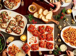 An array of Italian dishes on a table at Carrabba's Italian Grill.