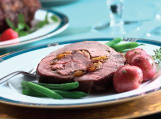 Caramelized American Lamb toast with apricot cranberry stuffing.