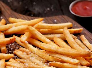 French fries with salt and ketchup.