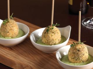 Egg pops with green goddess dip