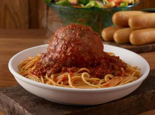A 12-ounce Giant Meatball with Spaghetti at Olive Garden.