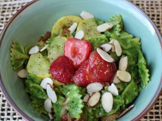 Parsley Pesto and Strawberry Pasta Salad Bowl