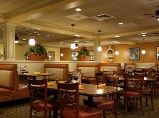The inside of a Perkins restaurant.