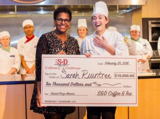 Helen Griffith, director of marketing for S&D, poses with grand-prize winner Sarah Rountree.