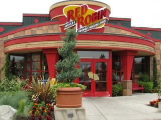 The exterior of a Red Robin restaurant.