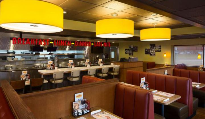 The interior of a new Denny's Heritage design restaurant.