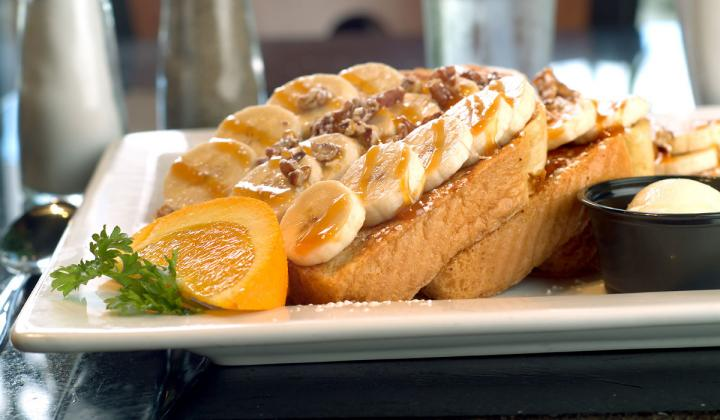 French toast with bananas at Keke's Breakfast Cafe.