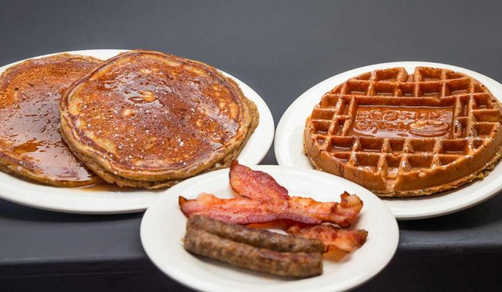 Pumpkin Spice Pancakes, Pumpkin Spice Waffles, and Pumpkin Spice Coffee from Eggs Up Grill