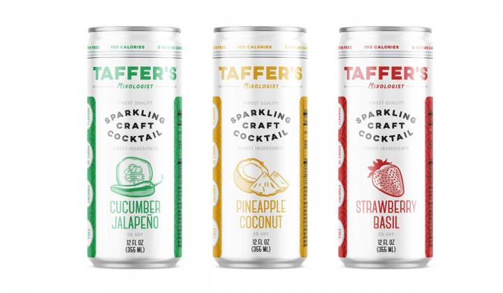 Three cans of Taffer's Sparkling Craft Cocktails