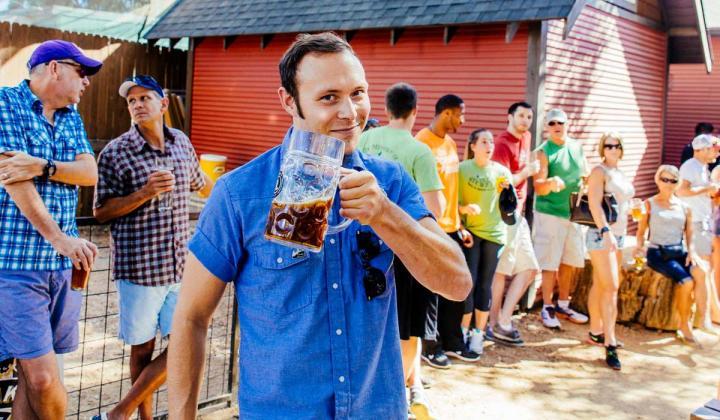 Man holding beer stein