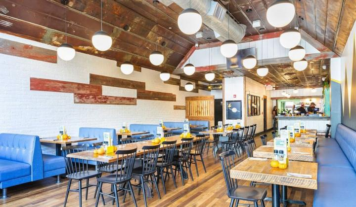 The interior of a newly designed Bareburger restaurant.