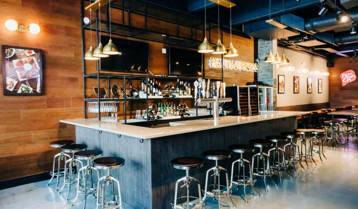 The bar area at Bonchon restaurant.