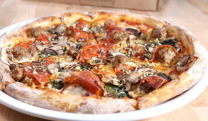 California Pizza Kitchen's Take and Bake Mushroom Pepperoni Sausage pizza.
