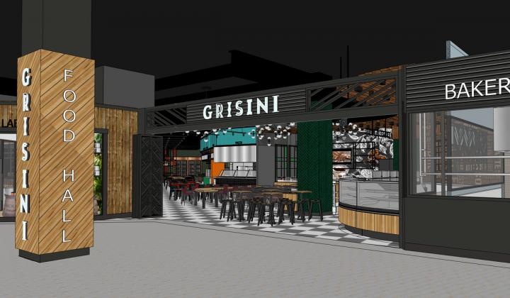 Rendering of an upcoming food hall.