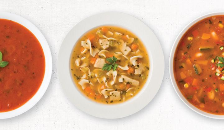 A picture of three Ready-to-eat soups from Campbell's.