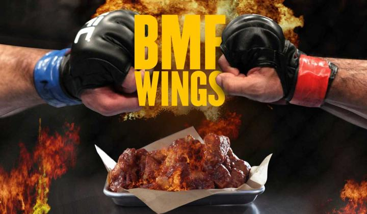 Buffalo Wild Wings' wings with BMF sauce.