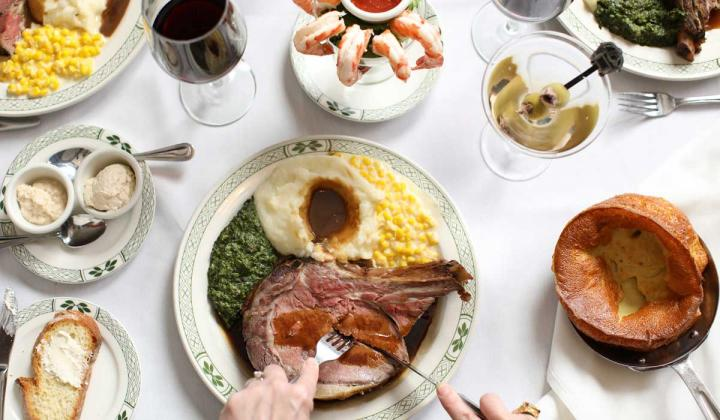 Spread of dishes from Lawry's