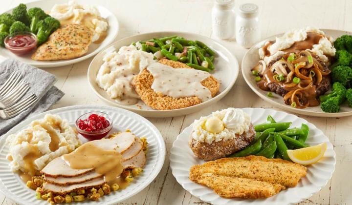A platter of food options at Bob Evans restaurant.