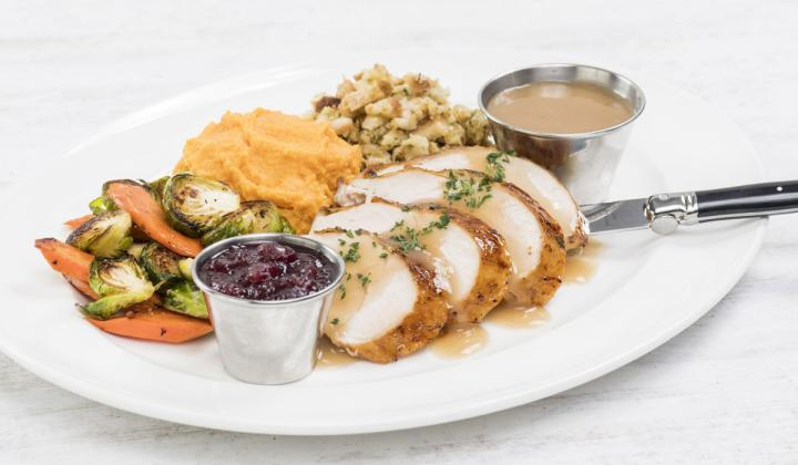 Turkey dinner plated from Hard Rock Cafe.