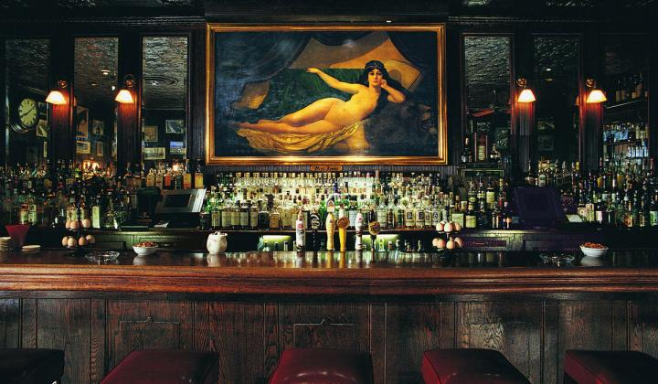 A picture above the bar at Keens Steakhouse.