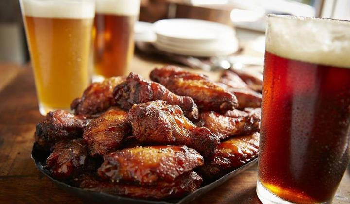 Wings and beer at Smokey Bones Bar & Fire Grill.