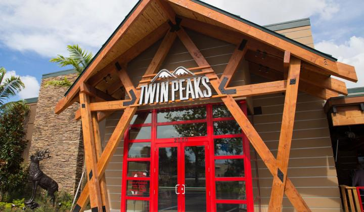 Exterior of Twin Peaks restaurant.