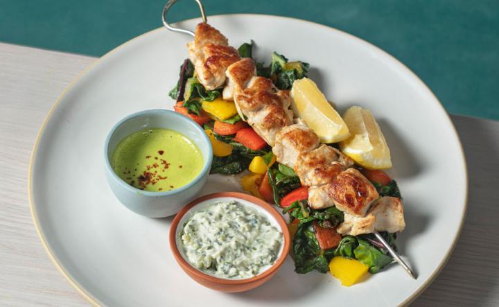 Chicken Kebab on a white plate.