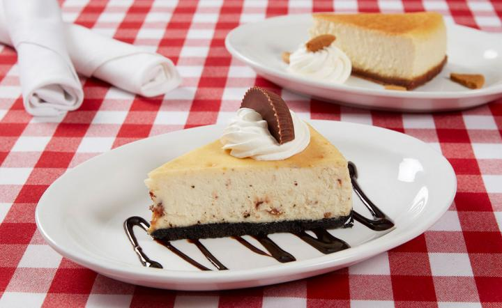A slice of Eggnog Cheesecake.